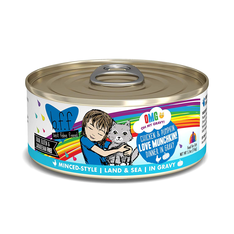 BFF Oh My Gravy! Love Munchkin! Chicken & Pumpkin Dinner in Gravy Grain-Free Wet Cat Food, 5.5-oz, case of 24 Size: 5.5-oz, case of 24