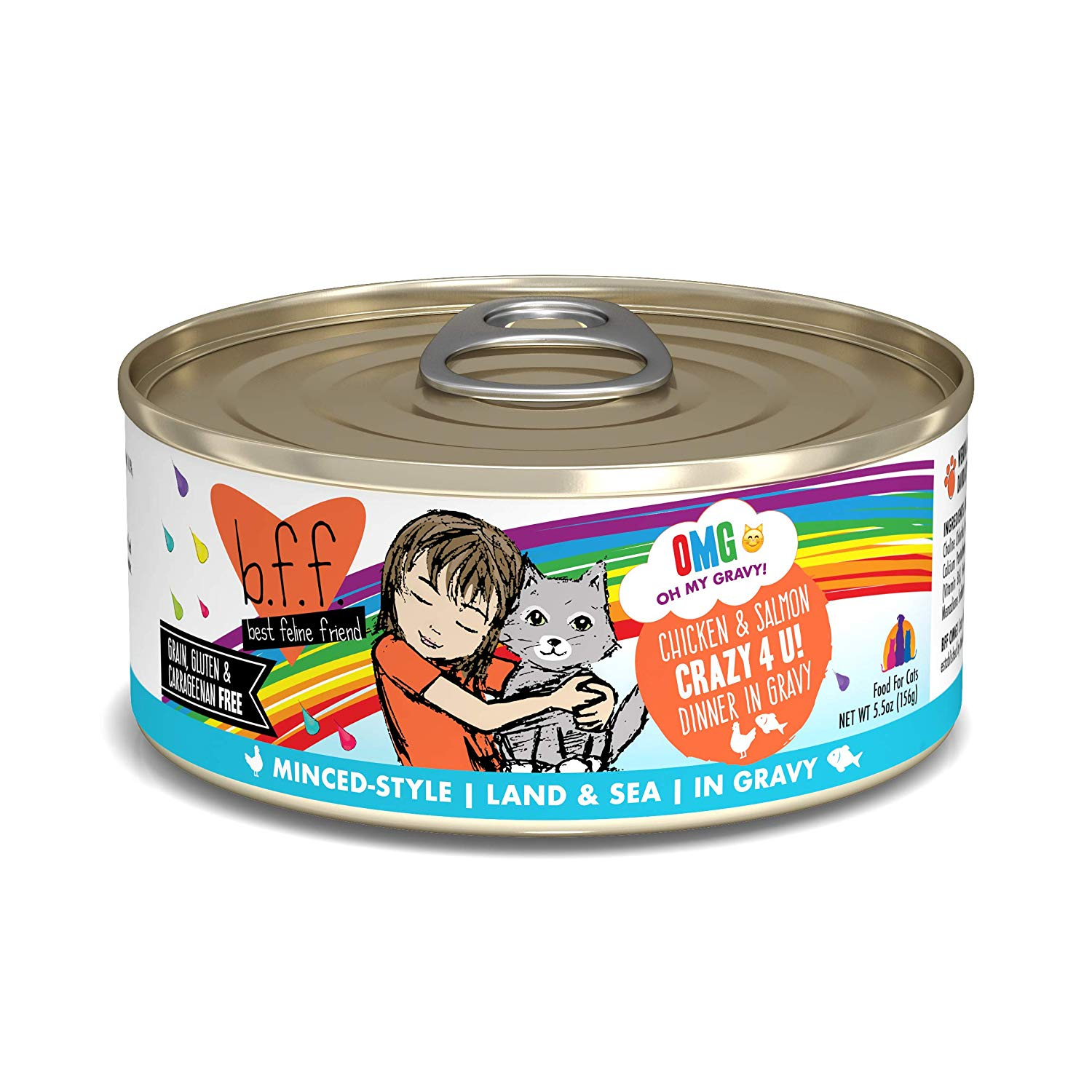 BFF Oh My Gravy! Crazy 4 U! Chicken & Salmon Dinner in Gravy Grain-Free Wet Cat Food, 5.5-oz