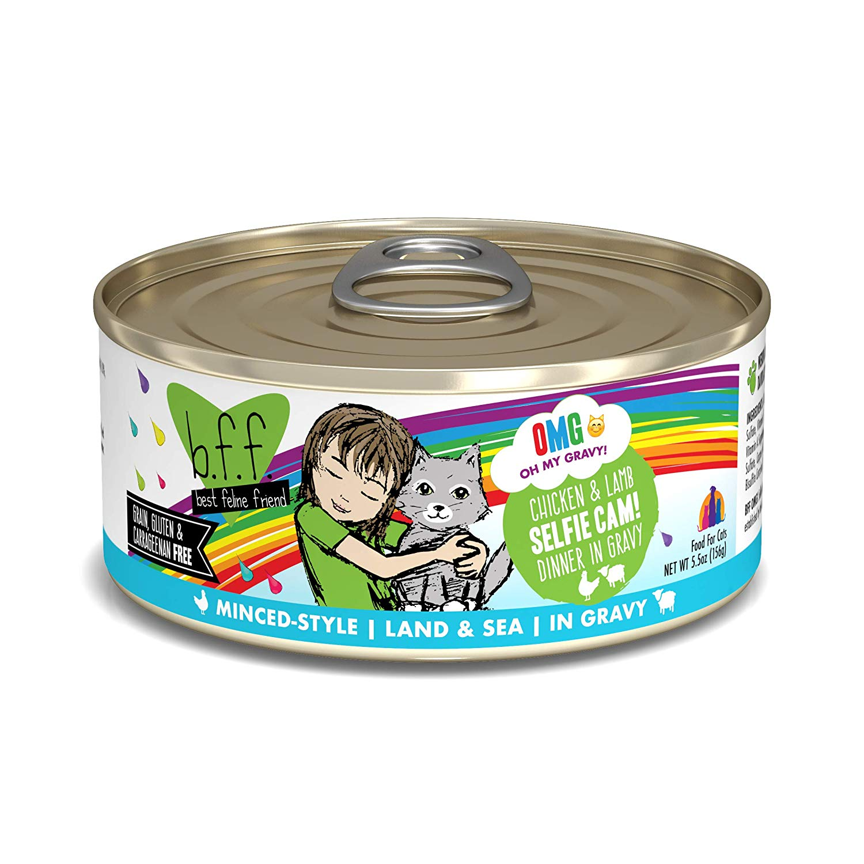 BFF Oh My Gravy! Selfie Cam! Chicken & Lamb Dinner in Gravy Grain-Free Wet Cat Food, 5.5-oz, case of 24