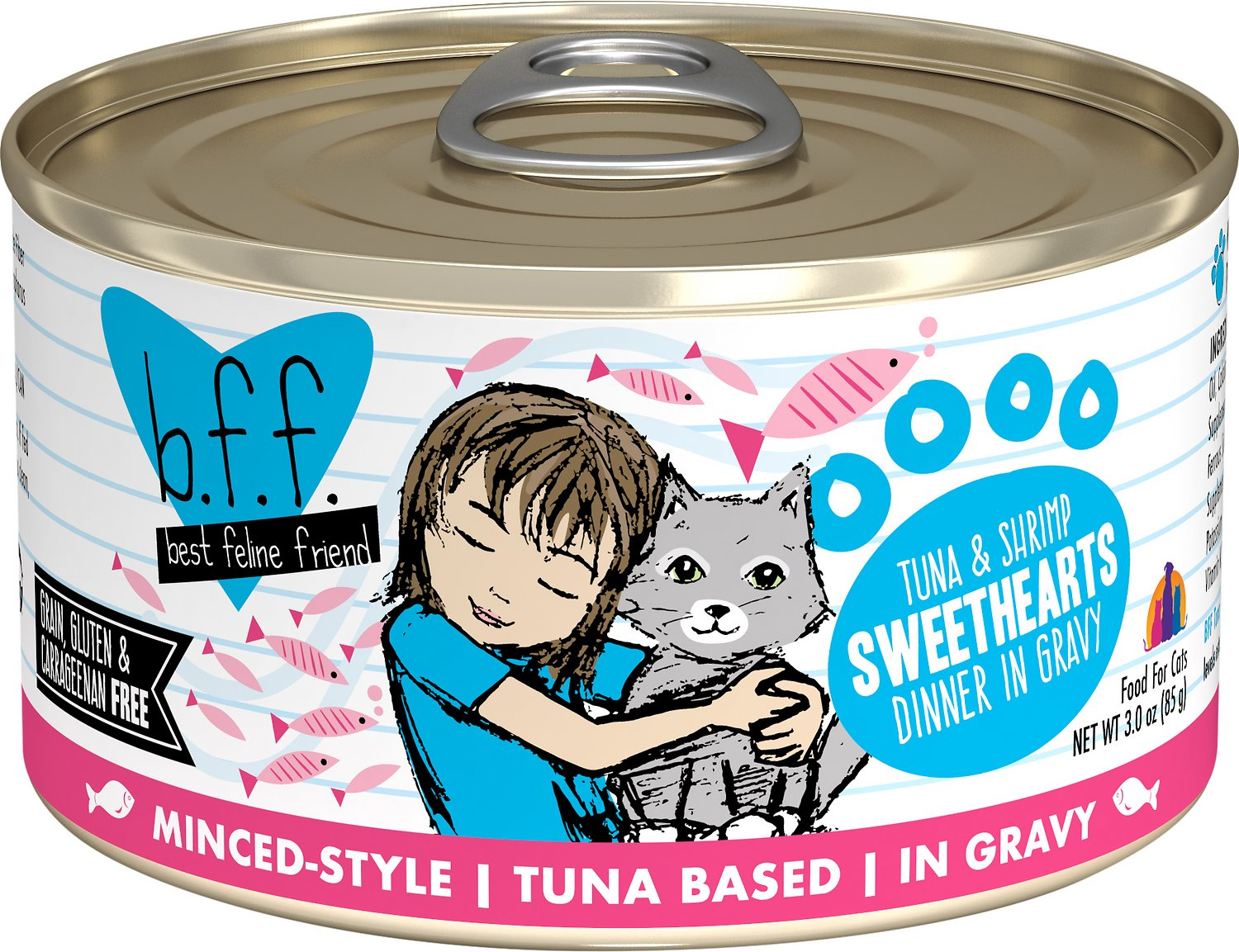 BFF Originals Sweethearts Tuna & Shrimp Dinner in Gravy Grain-Free Wet Cat Food, 3-oz