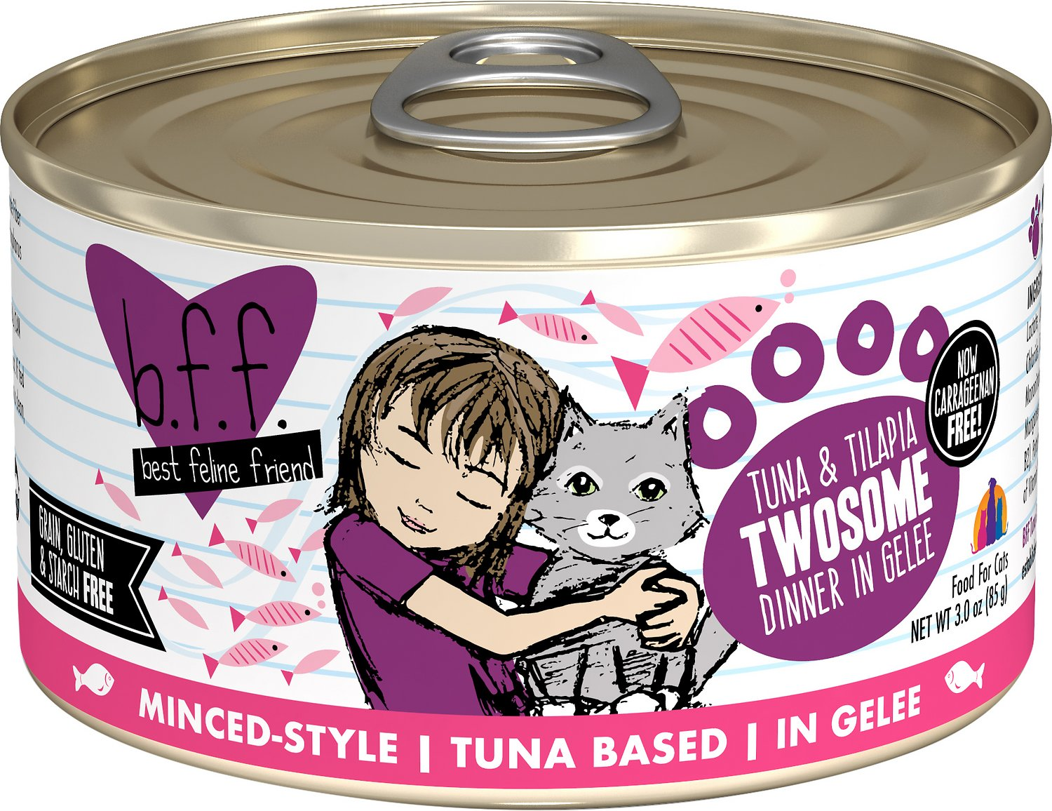 BFF Originals Twosome Tuna & Tilapia Dinner in Gelee Grain-Free Wet Cat Food, 3-oz