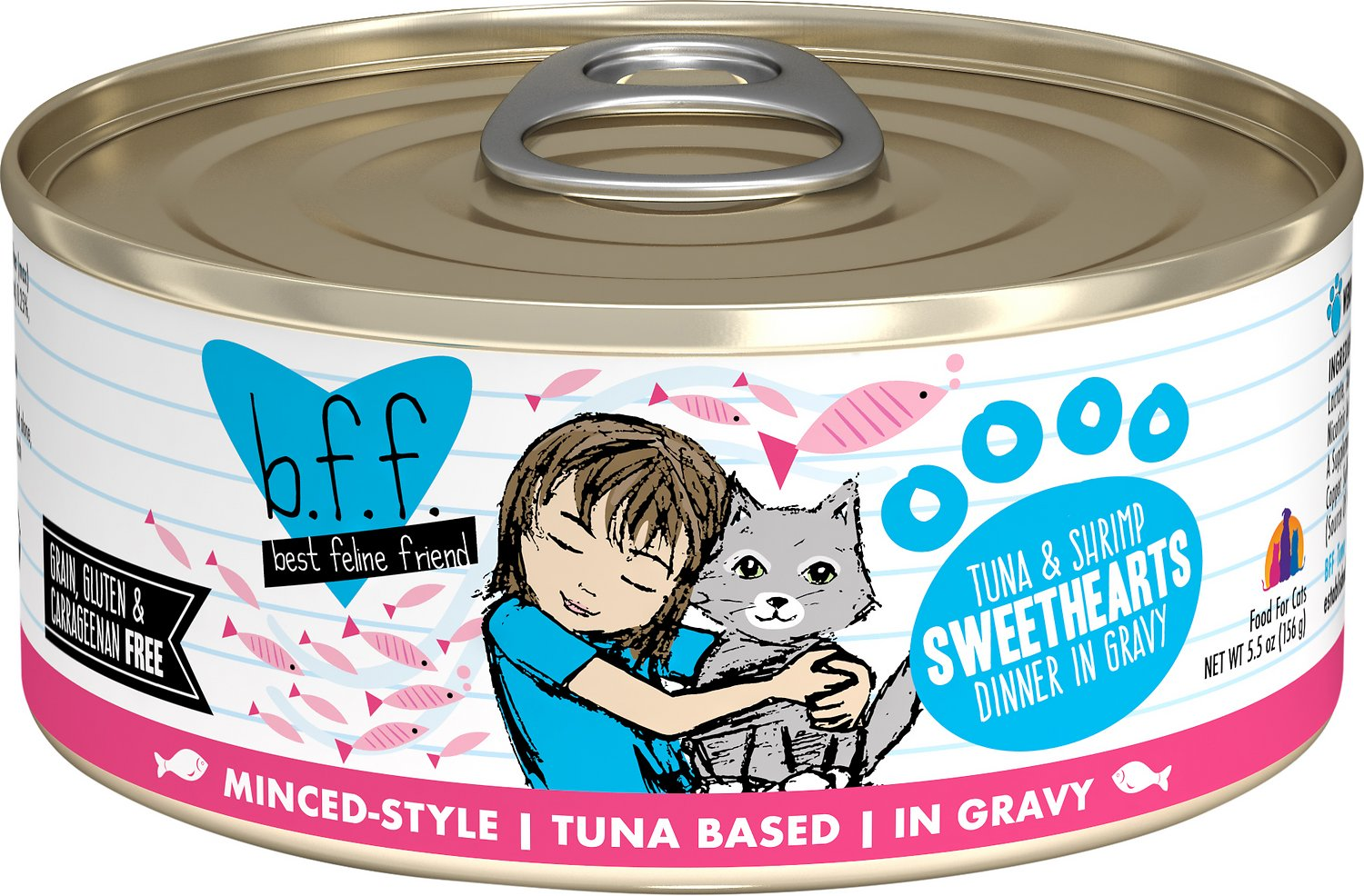 BFF Originals Sweethearts Tuna & Shrimp Dinner in Gravy Grain-Free Wet Cat Food, 5.5-oz