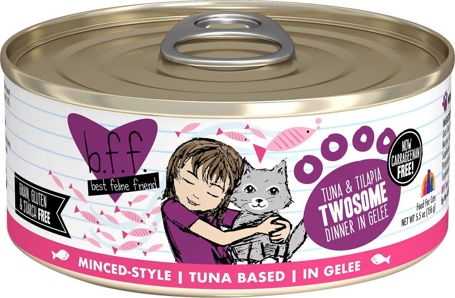 BFF Originals Twosome Tuna & Tilapia Dinner in Gelee Grain-Free Wet Cat Food, 5.5-oz