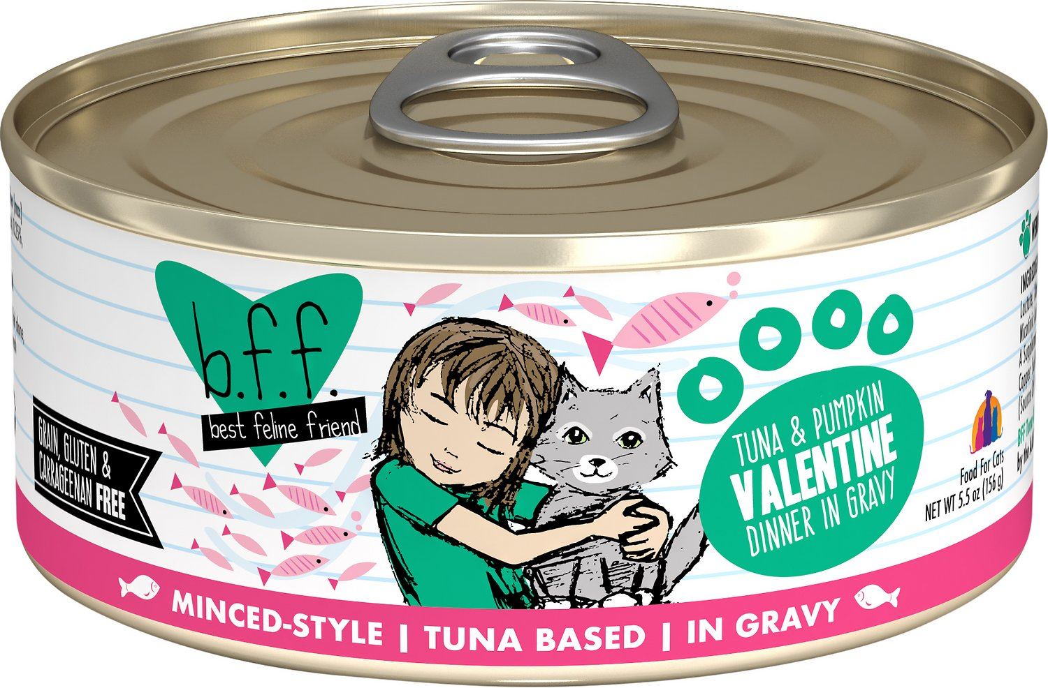 BFF Originals Valentine Tuna & Pumpkin Dinner in Gravy Grain-Free Wet Cat Food, 5.5-oz