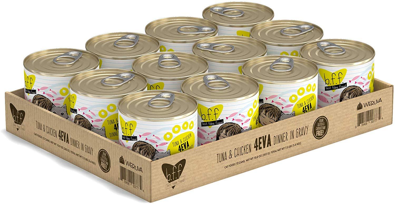 BFF Originals 4EVA Tuna & Chicken Dinner in Gravy Grain-Free Wet Cat Food, 10-oz, tray of 12