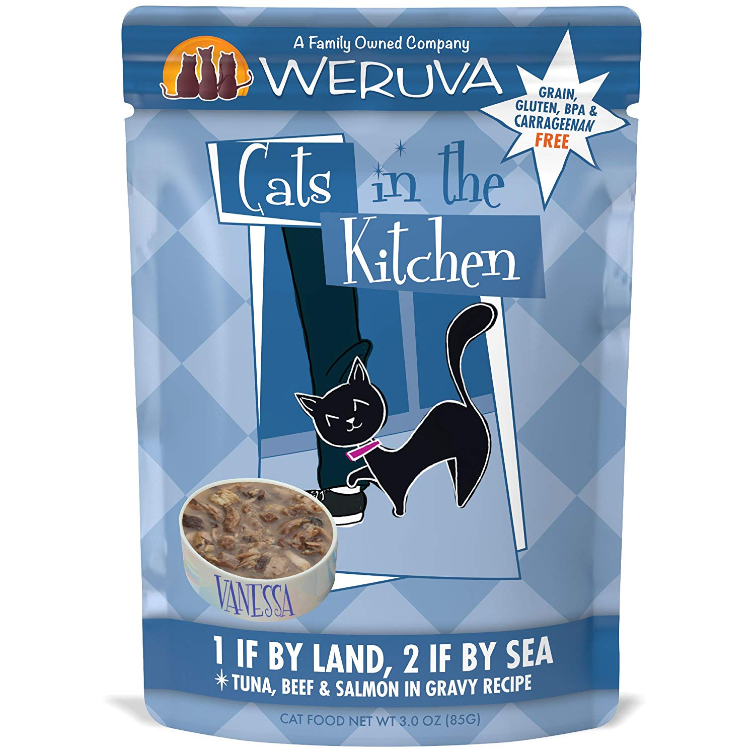 Weruva Cats in the Kitchen 1 If By Land, 2 If By Sea Tuna, Beef & Salmon in Gravy Recipe Grain-Free Wet Cat Food, 3-oz pouch