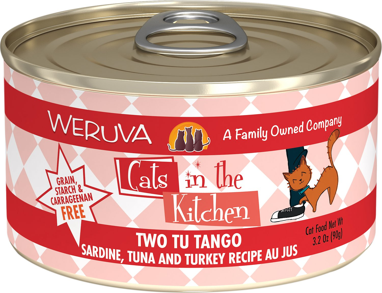 Weruva Cats in the Kitchen Two Tu Tango Sardine, Tuna & Turkey Au Jus Grain-Free Wet Cat Food, 3.2-oz