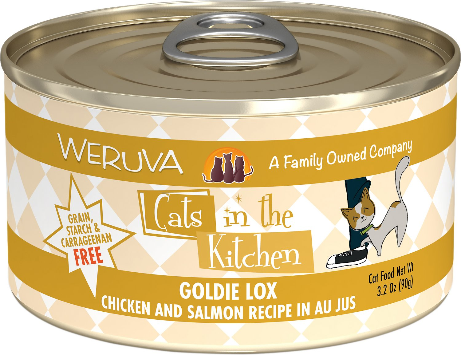 Weruva Cats in the Kitchen Goldie Lox Chicken & Salmon Au Jus Grain-Free Wet Cat Food, 3.2-oz