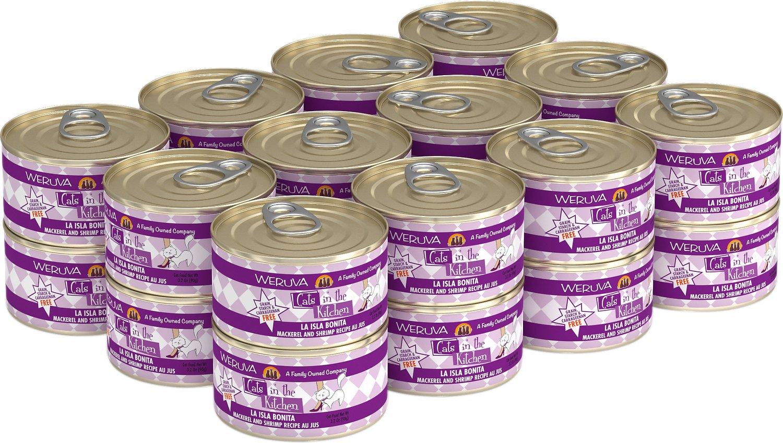Weruva Cats in the Kitchen La Isla Bonita Mackerel & Shrimp Au Jus Grain-Free Wet Cat Food, 3.2-oz, case of 24