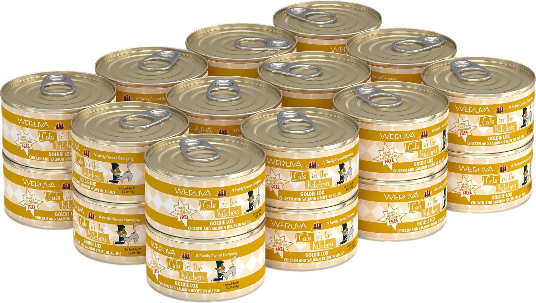 Weruva Cats in the Kitchen Goldie Lox Chicken & Salmon Au Jus Grain-Free Wet Cat Food, 3.2-oz, case of 24