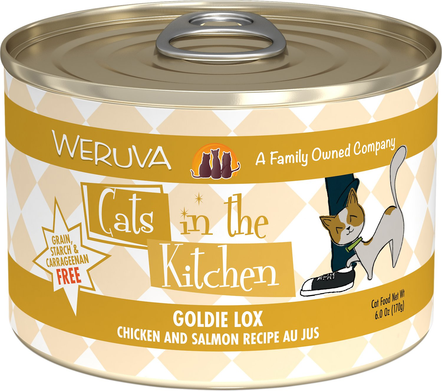 Weruva Cats in the Kitchen Goldie Lox Chicken & Salmon Au Jus Grain-Free Wet Cat Food, 6-oz