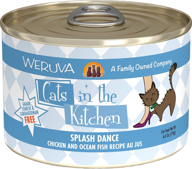Weruva Cats in the Kitchen Splash Dance Chicken & Ocean Fish Au Jus Grain-Free Wet Cat Food, 6-oz