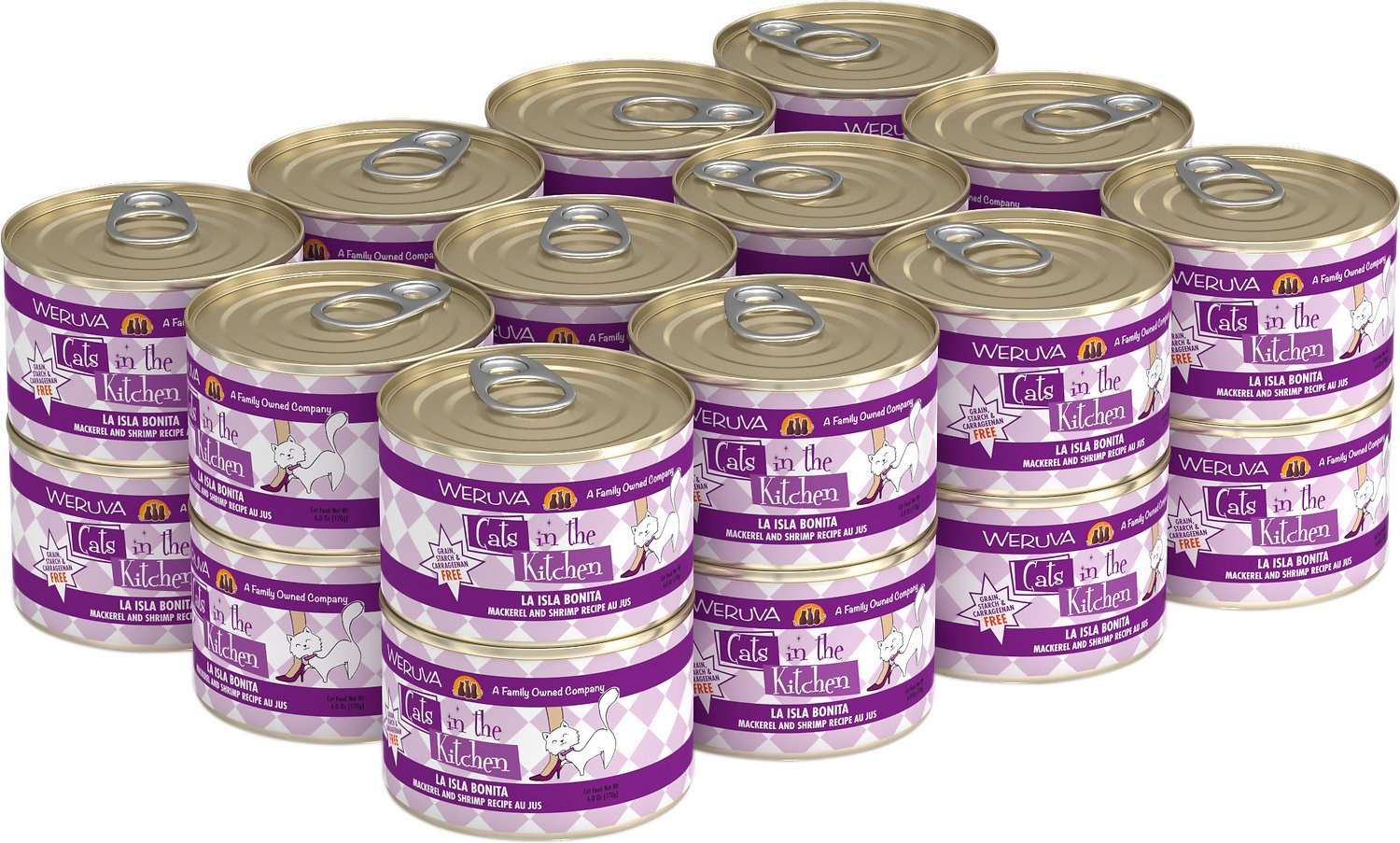 Weruva Cats in the Kitchen La Isla Bonita Mackerel & Shrimp Au Jus Grain-Free Wet Cat Food, 6-oz, case of 24