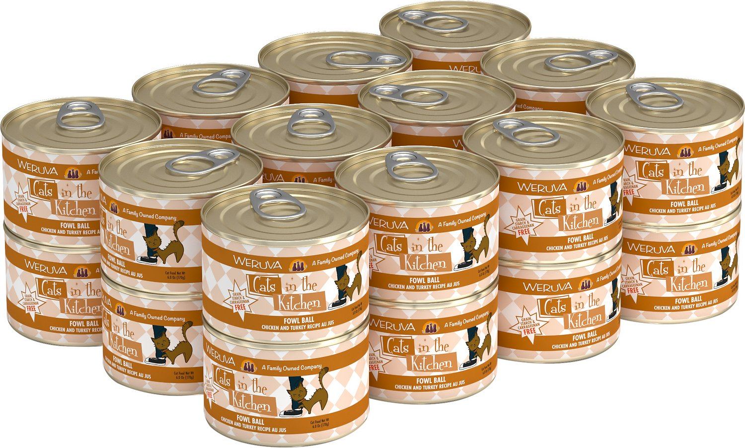 Weruva Cats in the Kitchen Fowl Ball Chicken & Turkey Au Jus Grain-Free Wet Cat Food, 6-oz, case of 24
