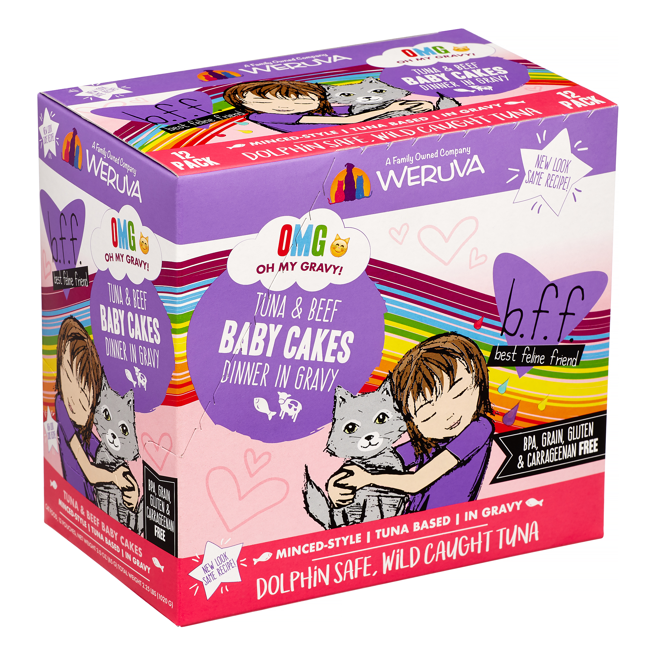 BFF Oh My Gravy! Baby Cakes Tuna & Beef Dinner in Gravy Grain-Free Wet Cat Food, 3-oz pouch, case of 12