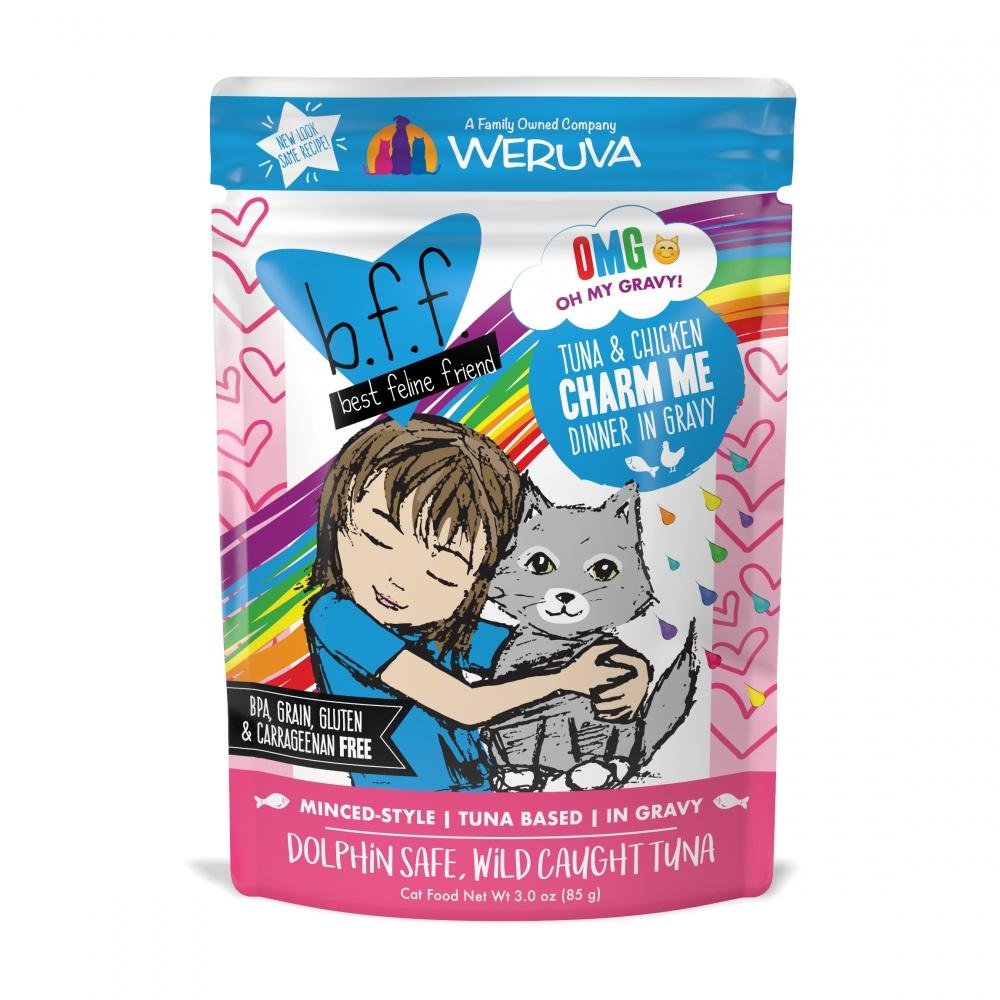 BFF Oh My Gravy! Charm Me Tuna & Chicken Dinner in Gravy Grain-Free Wet Cat Food, 3-oz pouch