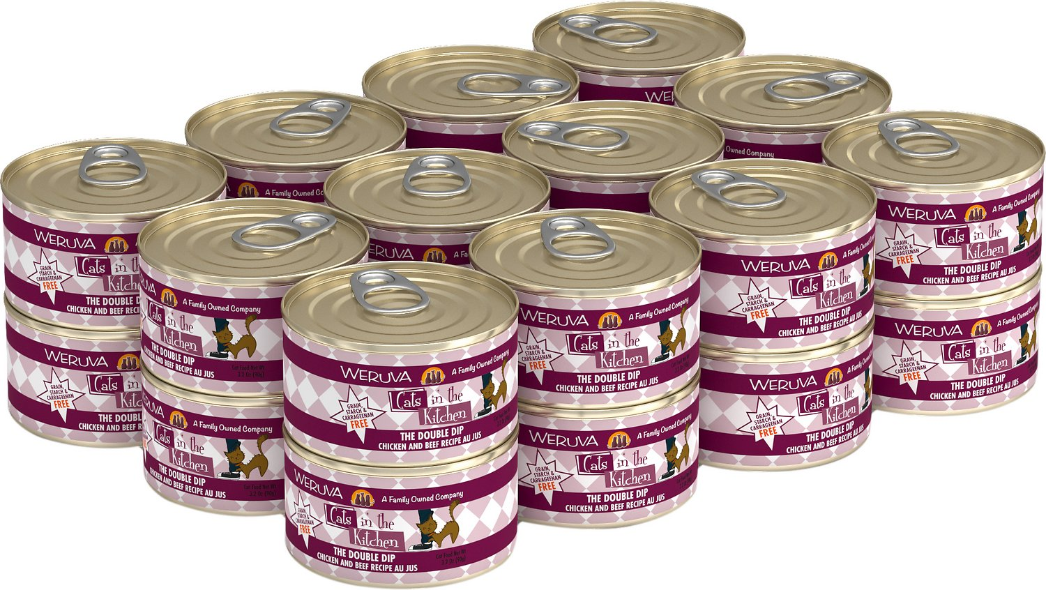 Weruva Cats in the Kitchen The Double Dip Chicken & Beef Au Jus Grain-Free Wet Cat Food, 3.2-oz, case of 24