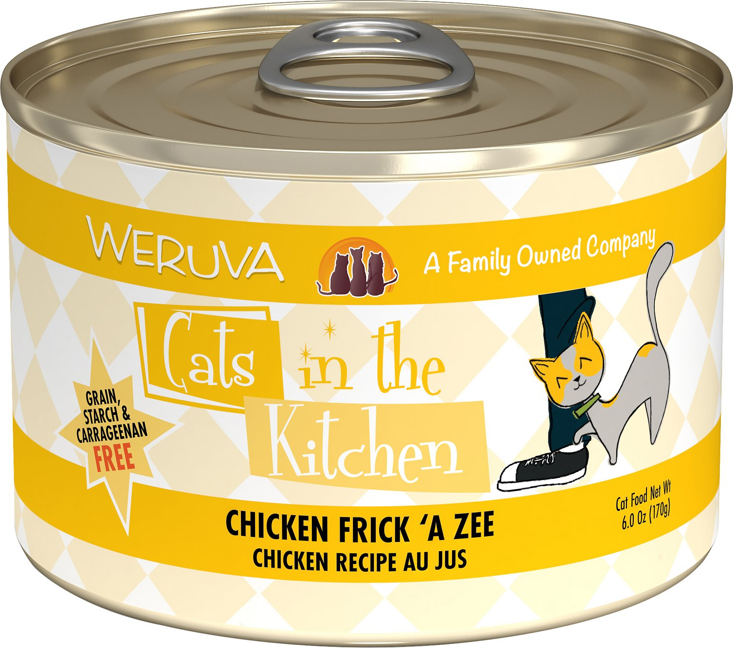 Weruva Cats in the Kitchen Chicken Frick 'A Zee Chicken Recipe Au Jus Grain-Free Wet Cat Food, 6-oz