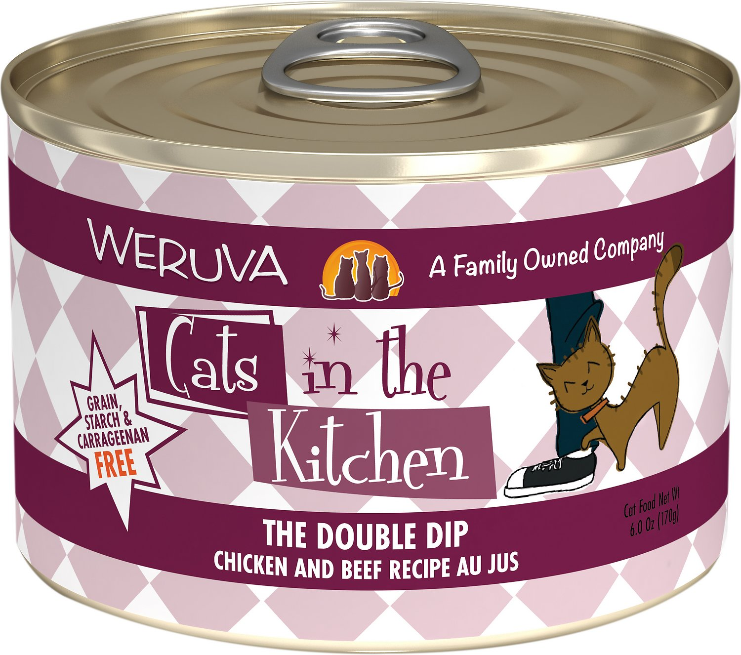 Weruva Cats in the Kitchen The Double Dip Chicken & Beef Au Jus Grain-Free Wet Cat Food, 6-oz