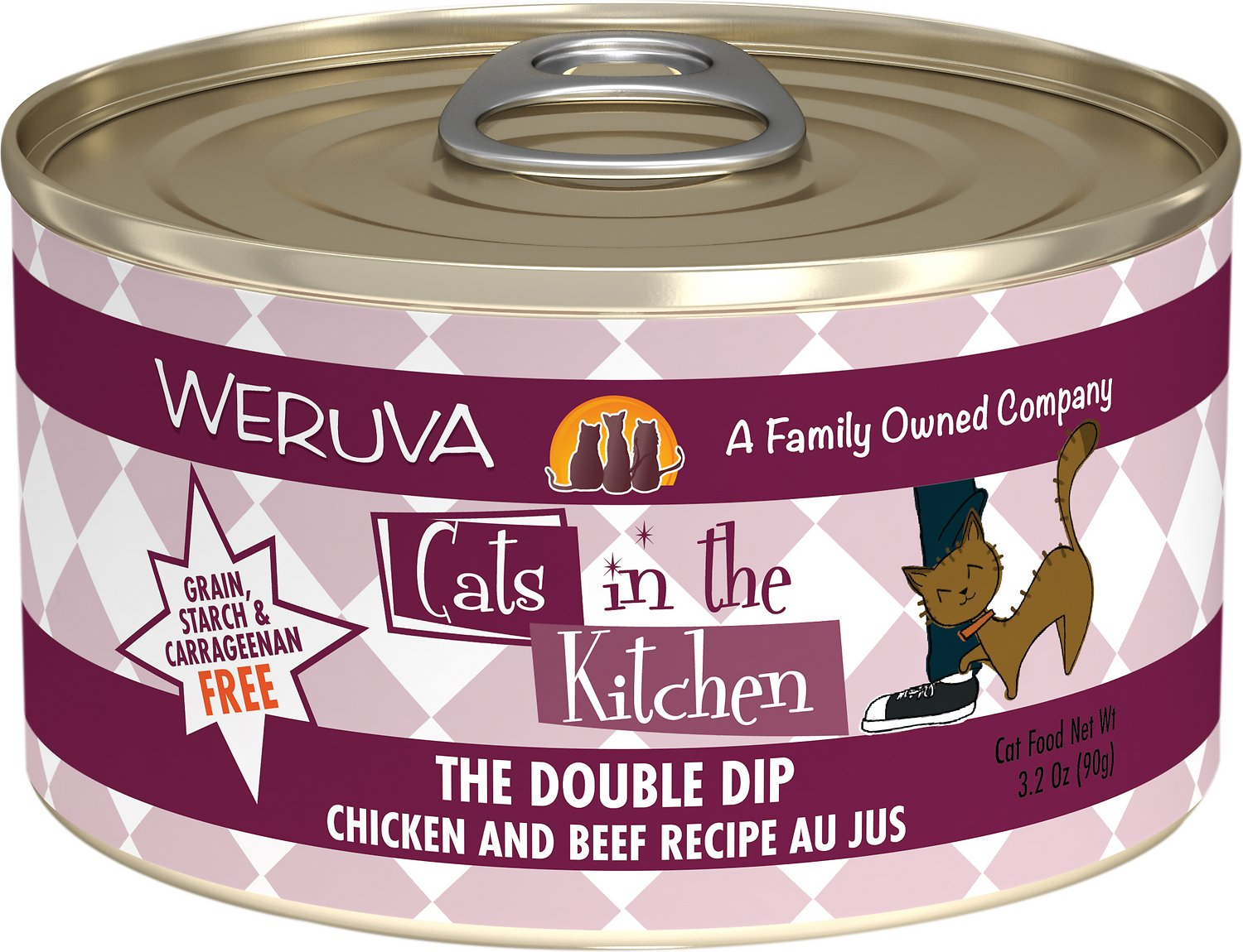 Weruva Cats in the Kitchen The Double Dip Chicken & Beef Au Jus Grain-Free Wet Cat Food, 3.2-oz