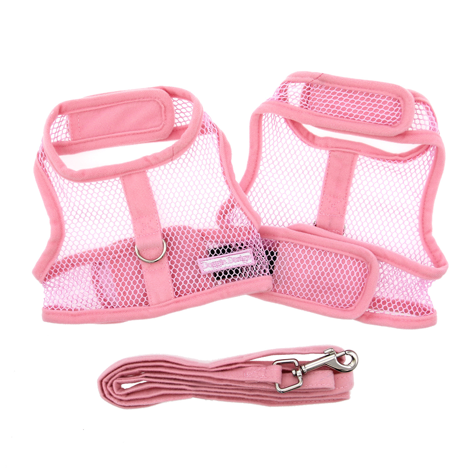 Doggie Design Cool Mesh Dog Harness with Matching Leash, Solid Pink, Small