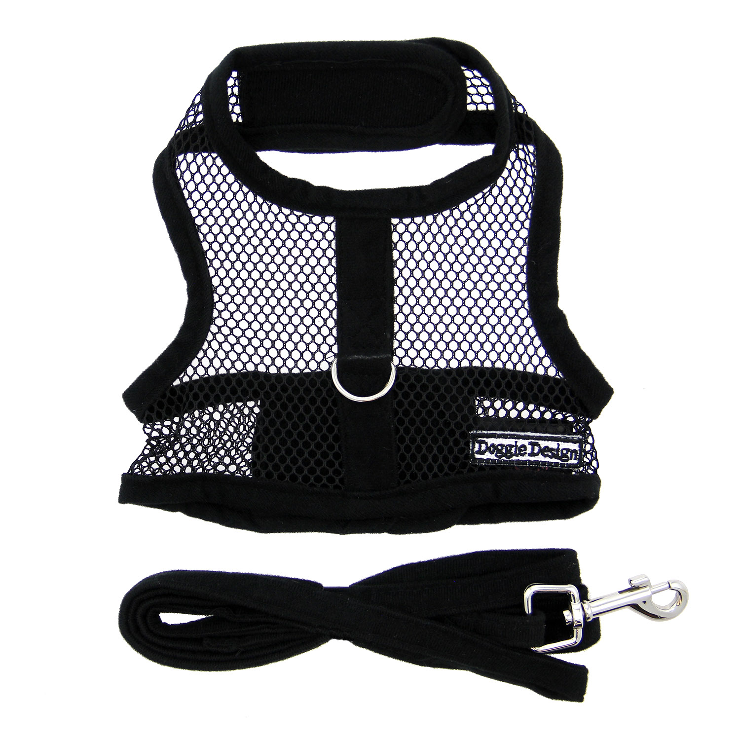 Doggie Design Cool Mesh Dog Harness with Matching Leash, Solid Black, Large