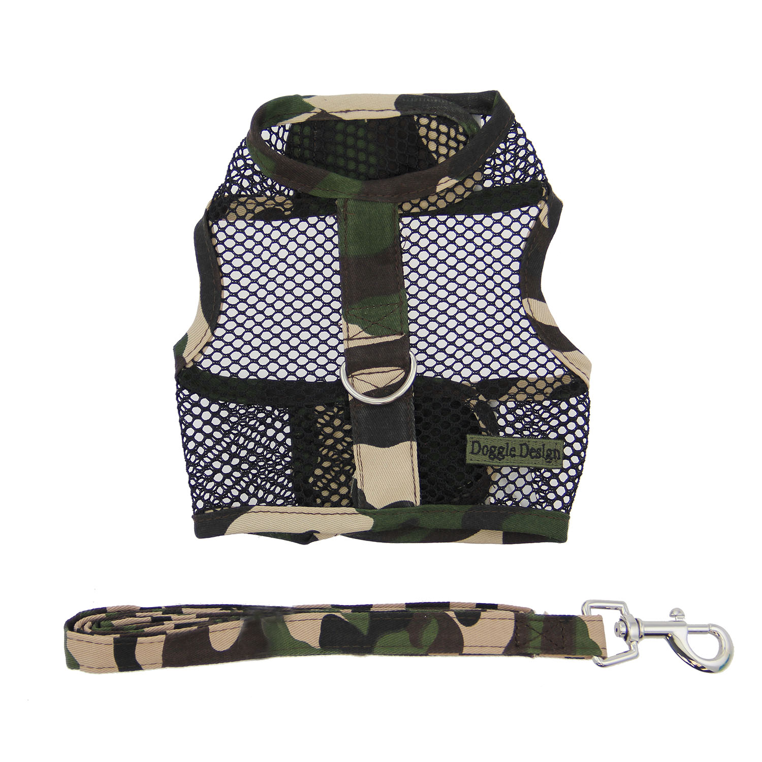 Doggie Design Cool Mesh Dog Harness with Matching Leash, Camouflage, Small