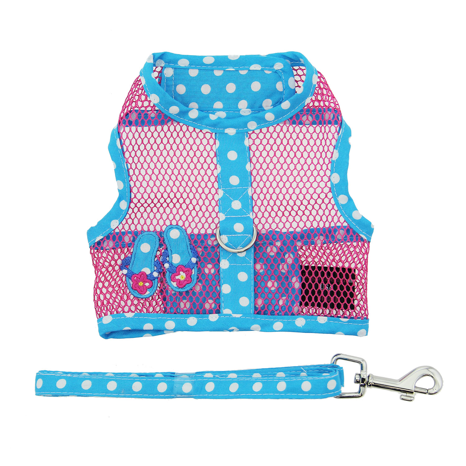 Doggie Design Cool Mesh Dog Harness with Matching Leash, Under the Sea Flip Flop, Large