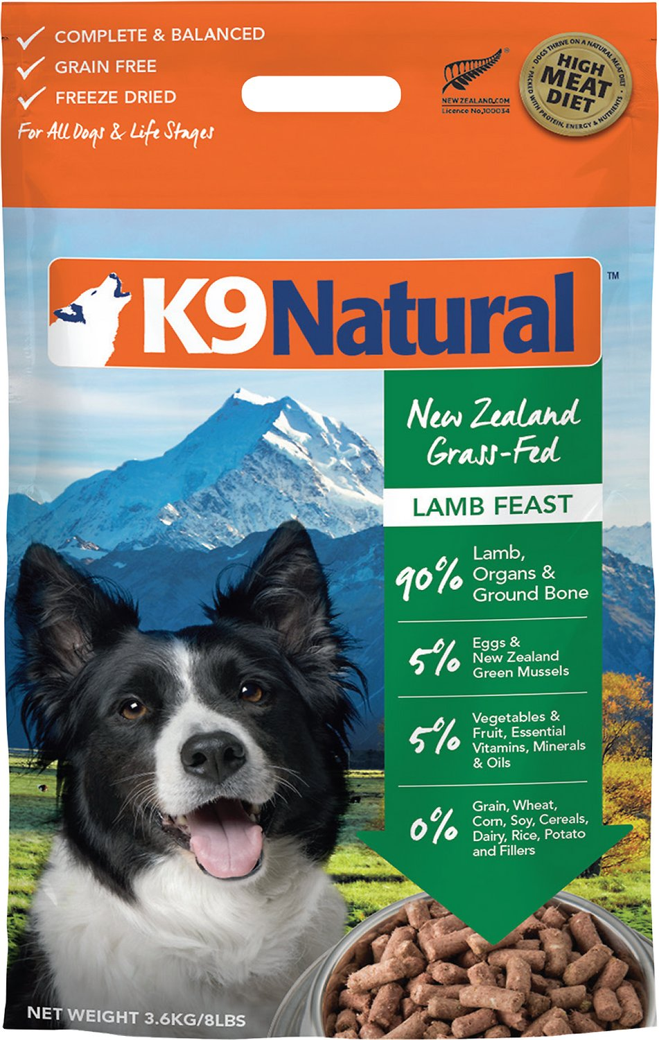 K9 Natural Lamb Feast Grain-Free Freeze-Dried Dog Food, 1.1-lb