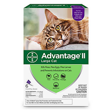 Bayer Advantage II Flea Treatment for Large Cats Over 9 lbs, 6-Pack