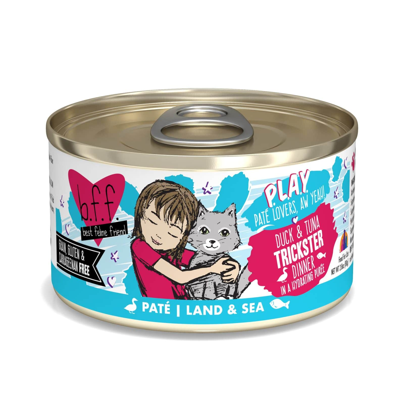 BFF PLAY Pate Trickster Duck & Tuna Dinner in Puree Grain-Free Wet Cat Food, 2.8-oz