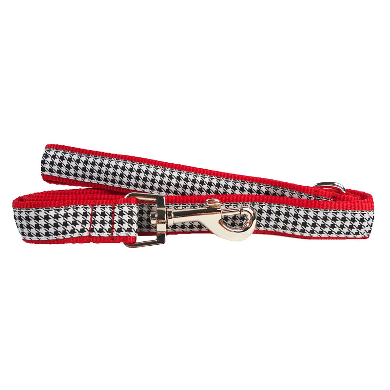 The Worthy Dog Leash, B&W Houndstooth, Small (5/8-in)