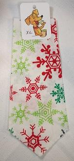 Mooch's Munchies Dog Bandanna, Multi-Colored Snowflake, Large