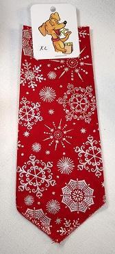 Mooch's Munchies Dog Bandanna, Silver Snowflake on Red, Small