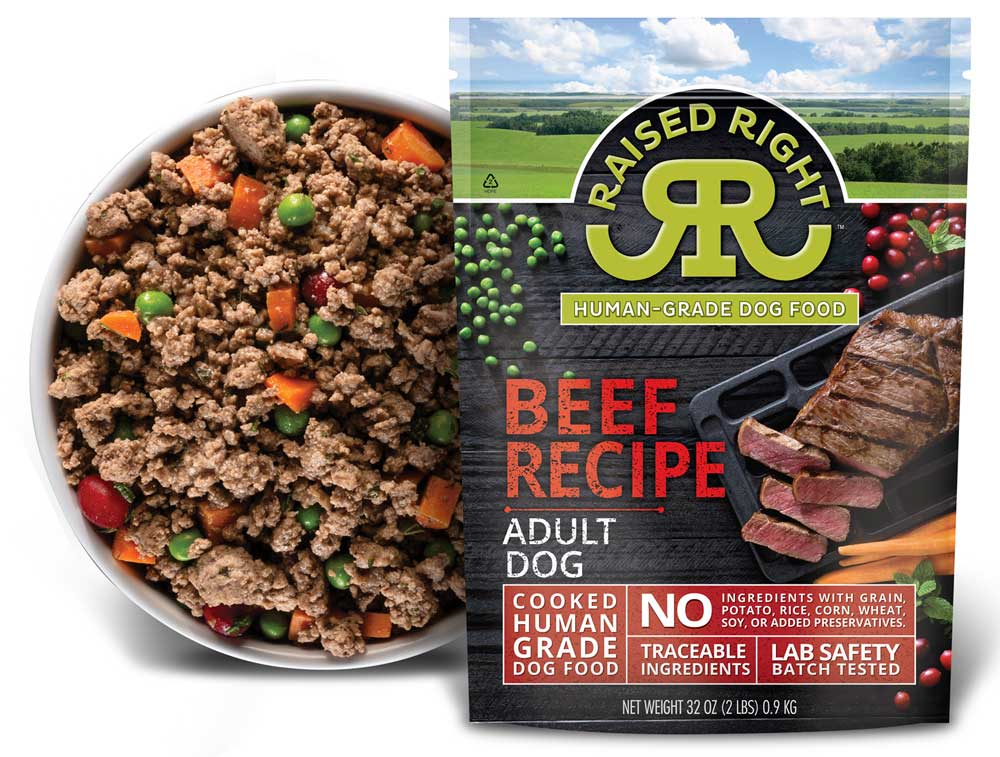 Raised Right Beef Recipe Adult Frozen Dog Food Size: 2-lb
