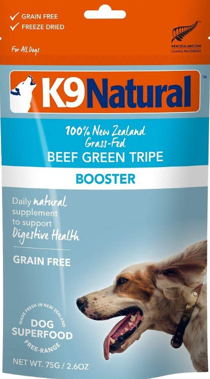 K9 Natural Booster Beef Green Tripe Grain-Free Freeze-Dried Dog Supplement, 2.6-oz bag