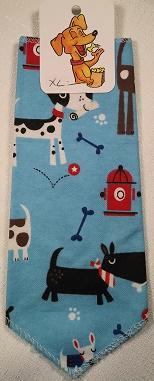 Mooch's Munchies Bandanna Dog Bandana, Blue Flannel Dogs & Hydrants, Toy