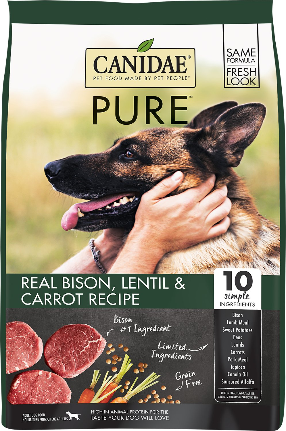 CANIDAE Grain-Free PURE Real Bison, Lentil & Carrot Recipe Dry Dog Food