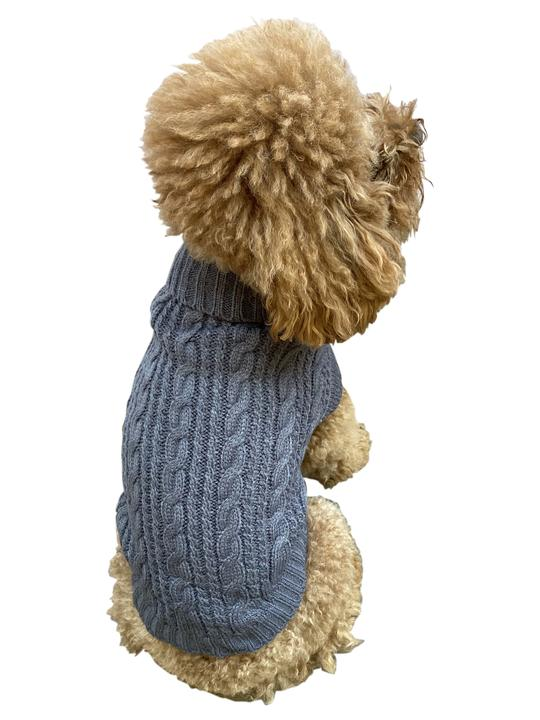 The Dog Squad Scottish Cable Knit Sweater, Charcoal, Small
