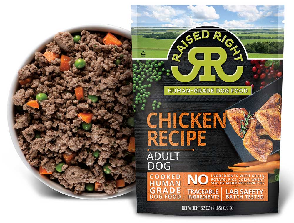 Raised Right Frozen Adult Chicken Recipe Dog Food