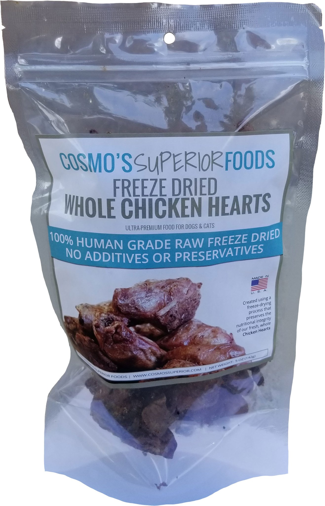 Cosmo's Superior Foods Whole Chicken Hearts Freeze-Dried Dog Treats, 5-oz
