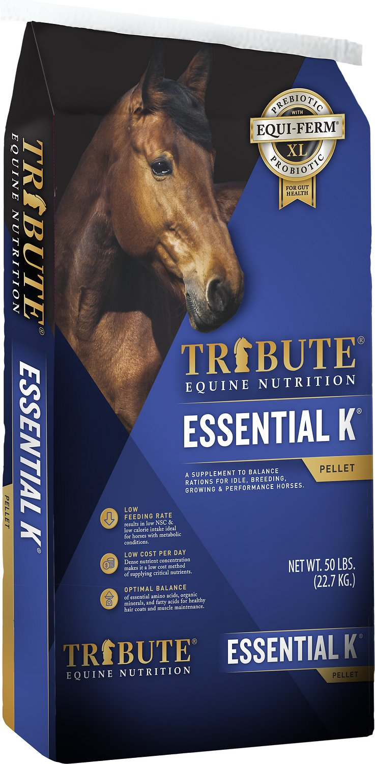 Tribute Equine Nutrition Essential K Low-NSC Horse Feed, 50-lb bag