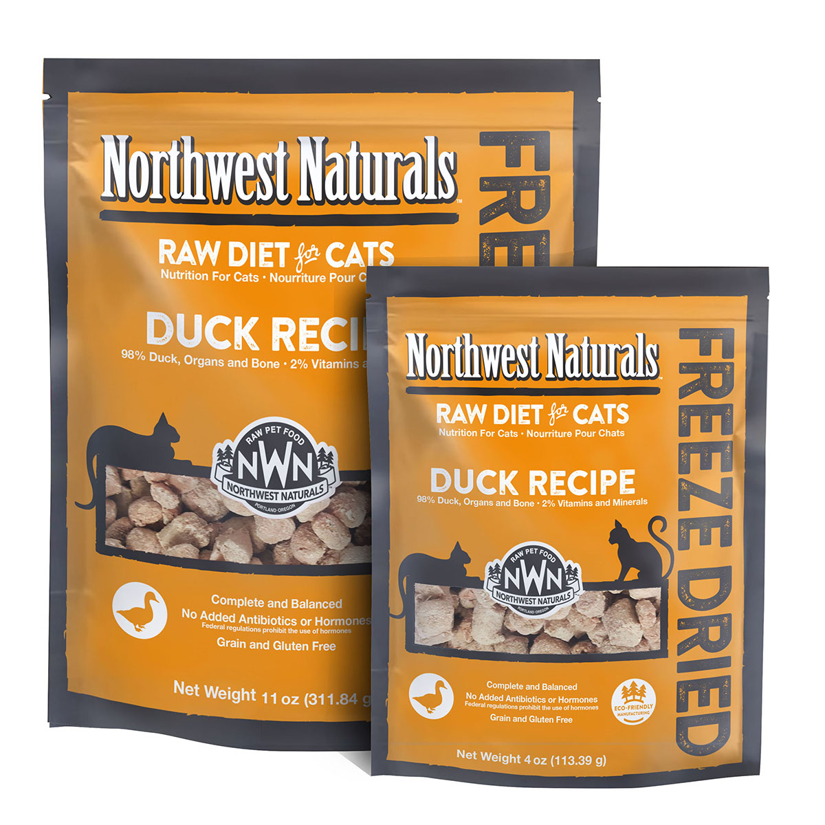 Northwest Naturals Raw Diet Grain-Free Duck Nibbles Freeze Dried Cat Food