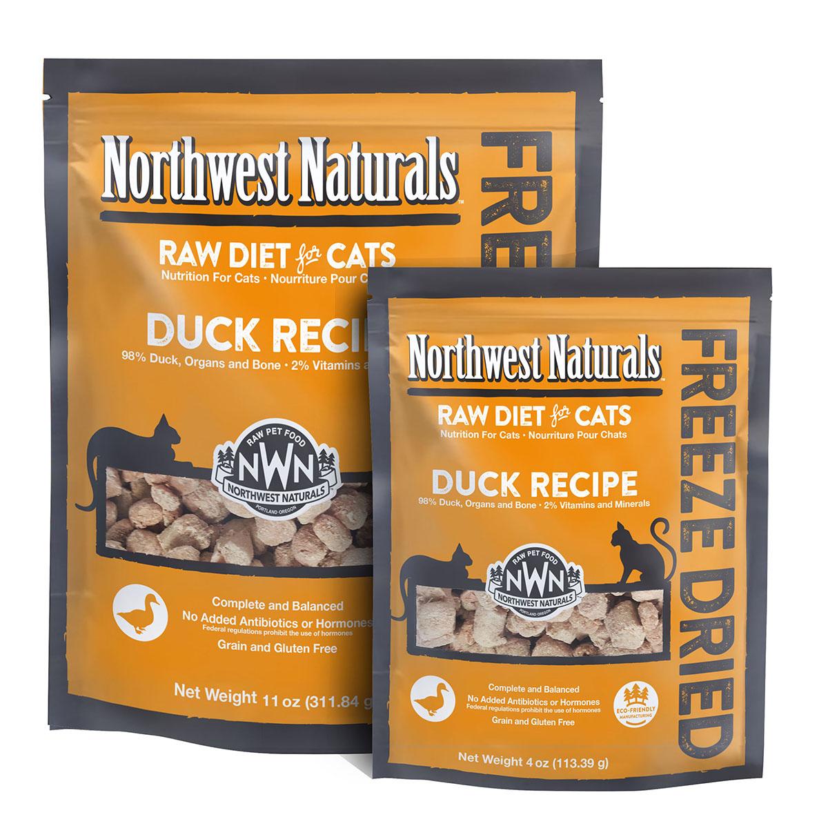 Northwest Naturals Raw Diet Grain-Free Duck Nibbles Freeze Dried Cat Food, 11-oz