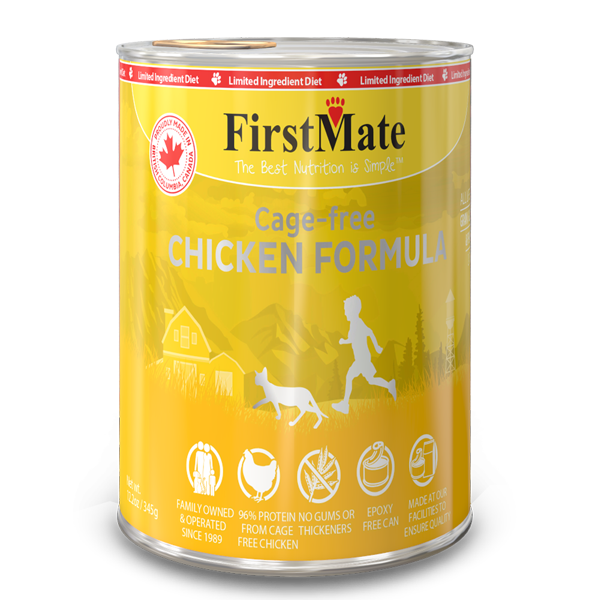FirstMate Chicken Formula Limited Ingredient Grain-Free Canned Cat Food Weights: 9.5 pounds, Size: 12.2-oz