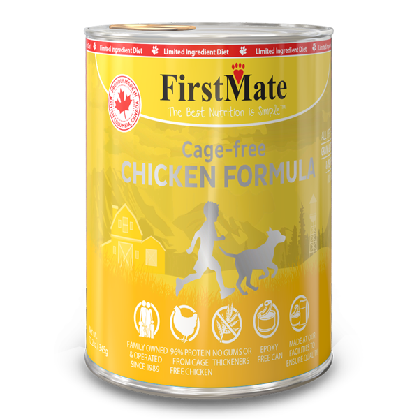 FirstMate Chicken Formula Limited Ingredient Grain-Free Canned Dog Food, 12.2-oz