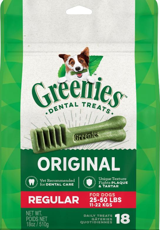 Greenies Original Regular Dental Dog Treats, 18-count