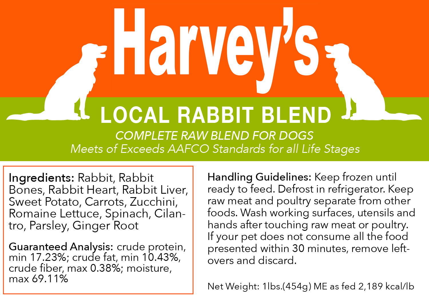 Harvey's Local Rabbit Blend Frozen Dog Food