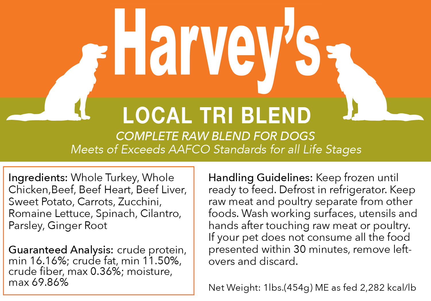 Harvey's Local Tri Blend Frozen Dog Food