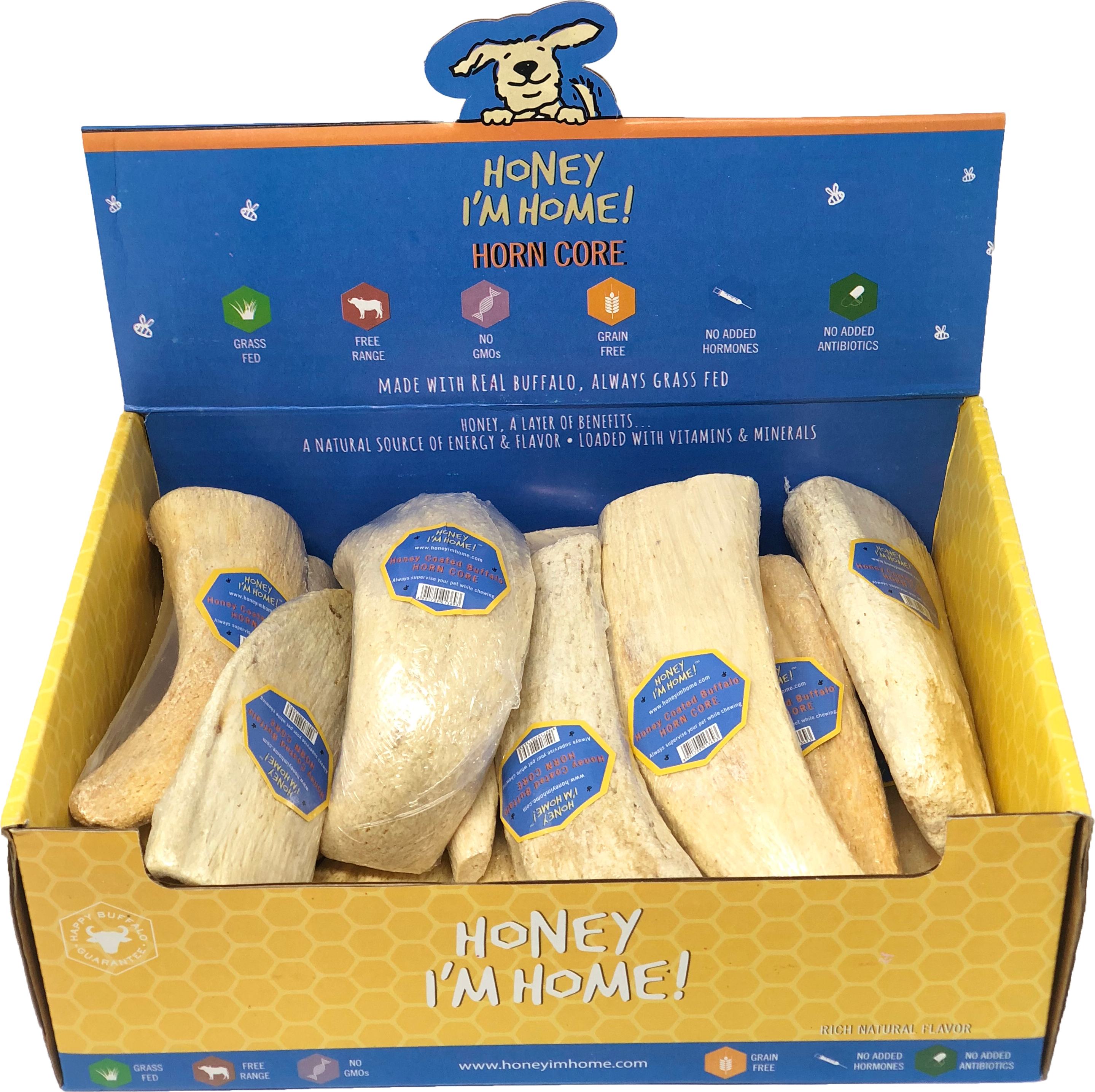Honey I'm Home Natural Honey Coated Buffalo Horn Core Dog Chews
